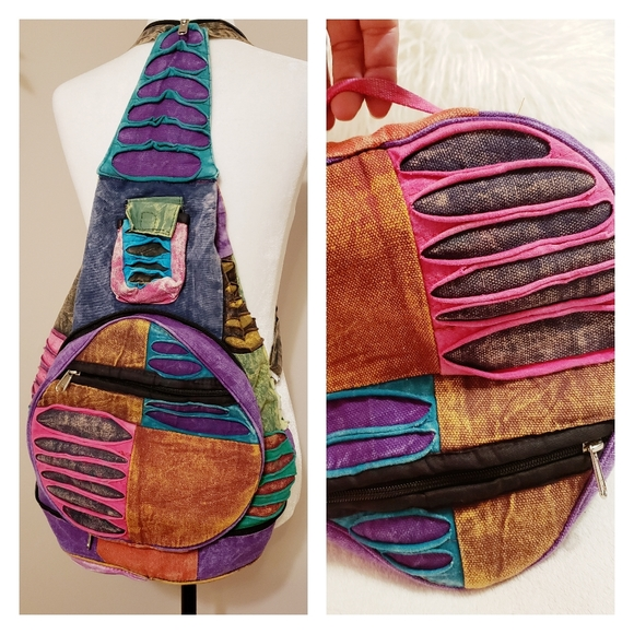 Unique Boho Multicolored Fabric Backpack Packable